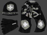 Knit Hat Scarf Glove-105 Black/Grey